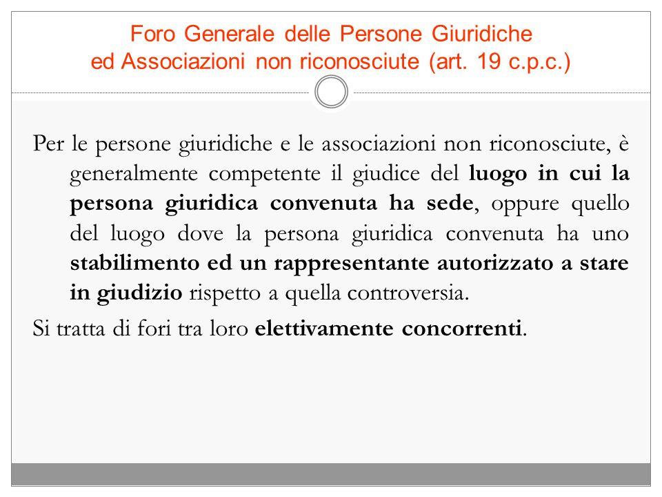 Foro Generale delle Persone Giuridiche ed Associazioni non riconosciute (art. 19 c.p.c.)