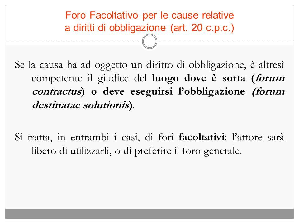 Foro Facoltativo per le cause relative a diritti di obbligazione (art