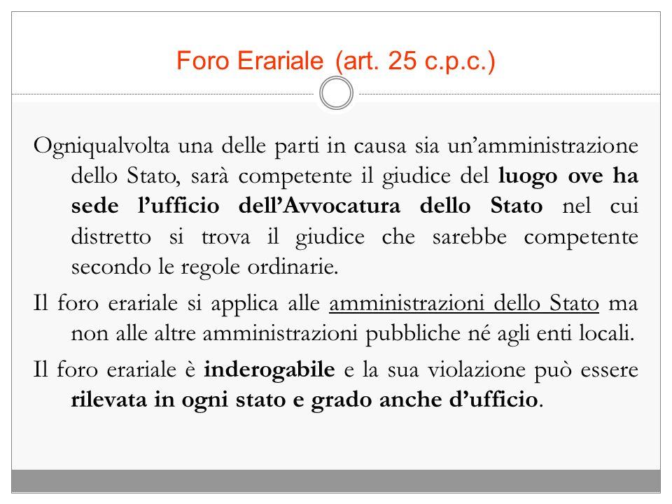 Foro Erariale (art. 25 c.p.c.)