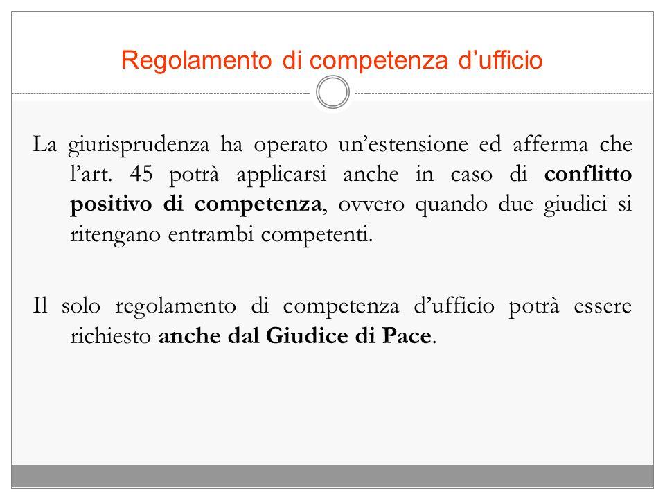 Regolamento di competenza d'ufficio