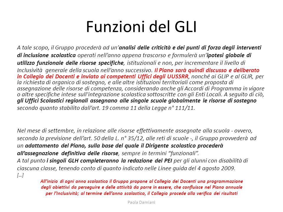 Funzioni del GLI A tale scopo, il Gruppo procederà ad un'analisi delle criticità e dei punti di forza degli interventi.