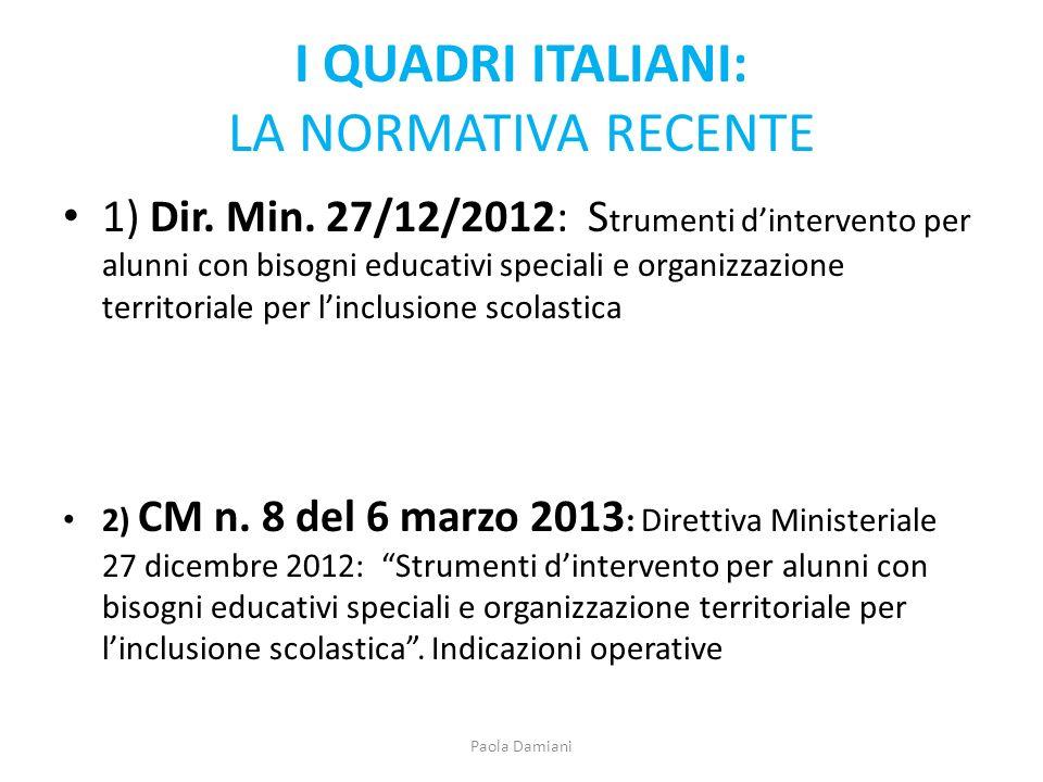 I QUADRI ITALIANI: LA NORMATIVA RECENTE