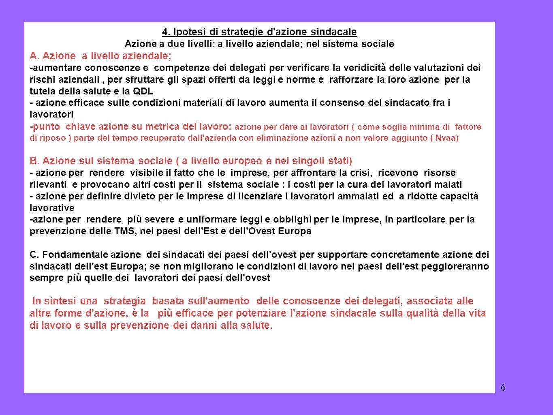 4. Ipotesi di strategie d azione sindacale