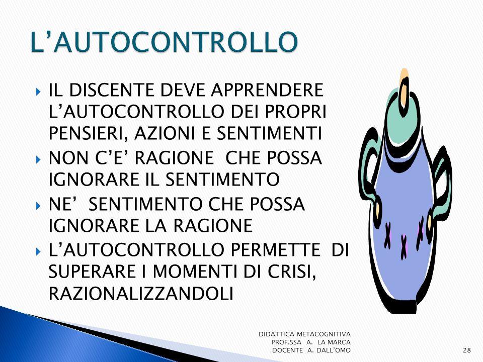 L'AUTOCONTROLLO IL DISCENTE DEVE APPRENDERE L'AUTOCONTROLLO DEI PROPRI PENSIERI, AZIONI E SENTIMENTI.