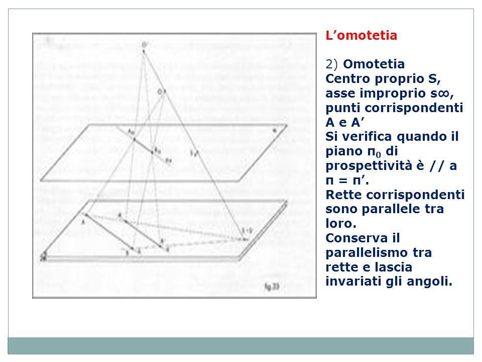 L'omotetia 2) Omotetia. Centro proprio S, asse improprio s∞, punti corrispondenti A e A'