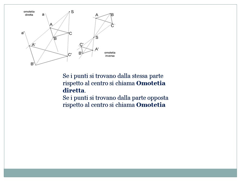 Se i punti si trovano dalla stessa parte rispetto al centro si chiama Omotetia diretta.