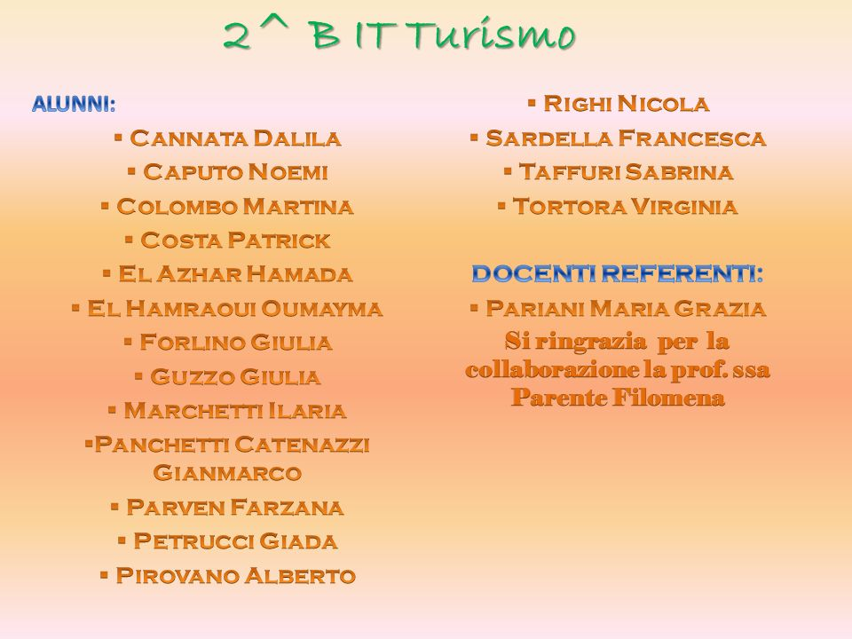 2^ B IT Turismo ALUNNI: Righi Nicola Cannata Dalila Sardella Francesca
