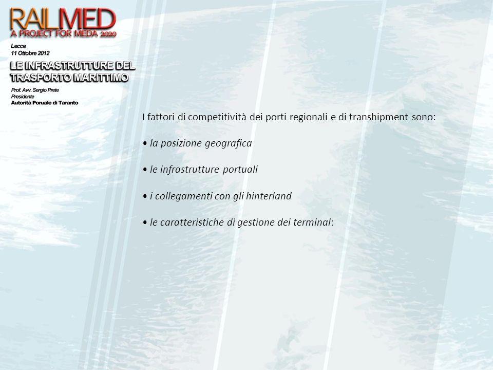 I fattori di competitività dei porti regionali e di transhipment sono: