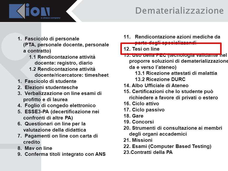 Dematerializzazione Rendicontazione azioni mediche da parte degli specializzandi. Tesi on line.