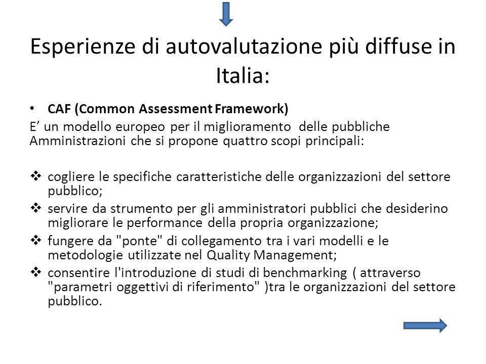 Esperienze di autovalutazione più diffuse in Italia: