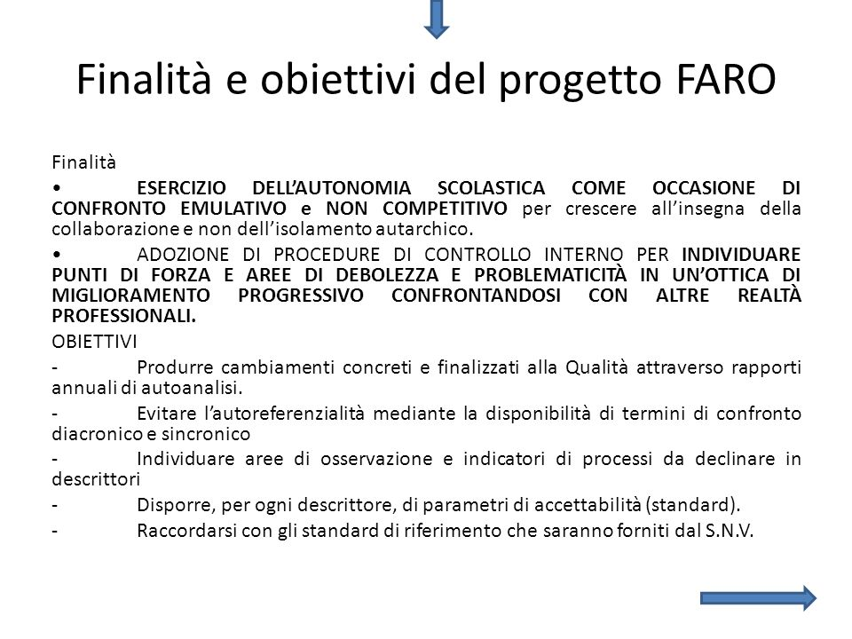 Finalità e obiettivi del progetto FARO