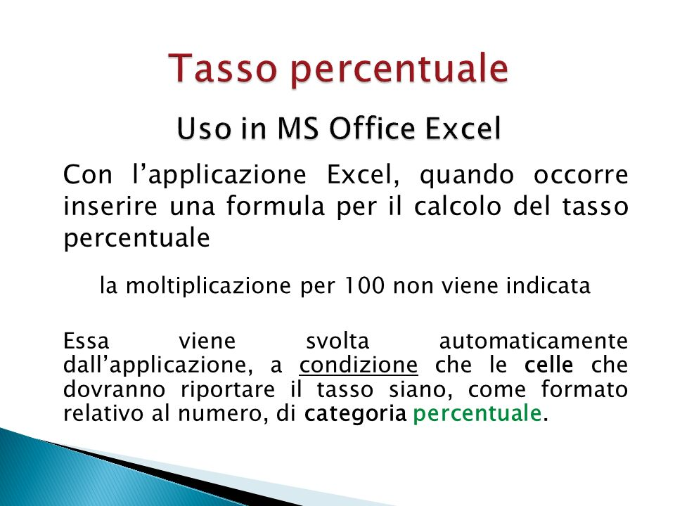 Tasso percentuale Uso in MS Office Excel