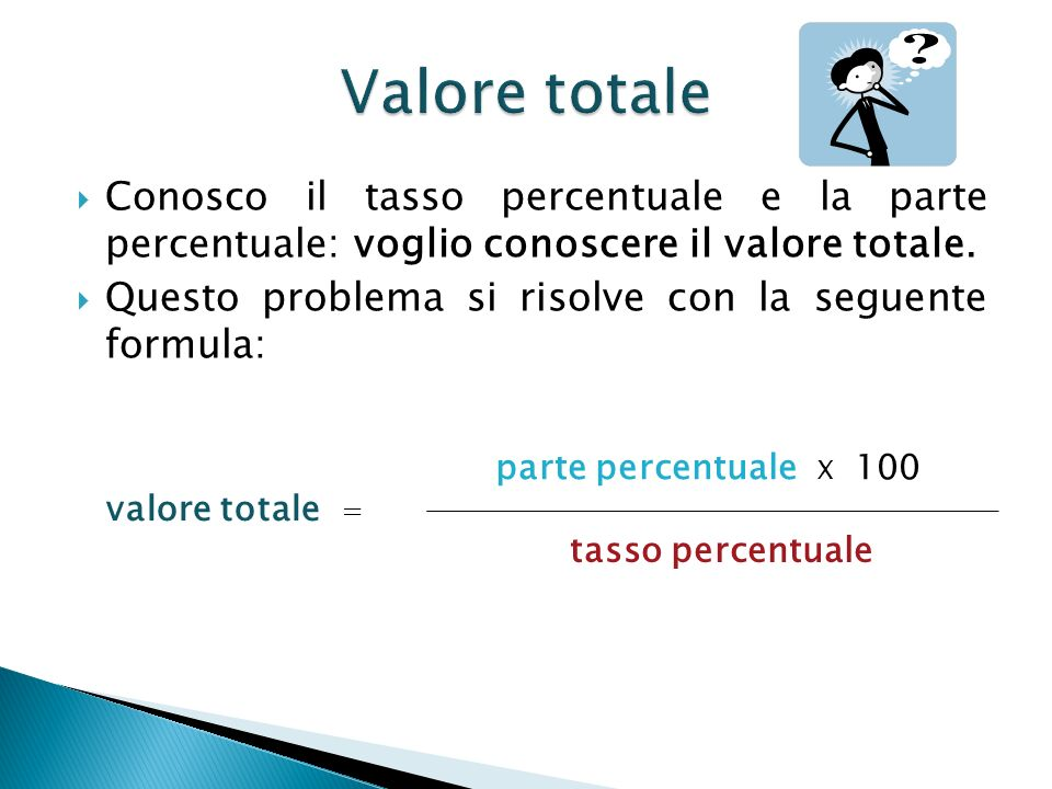 Valore totale Conosco il tasso percentuale e la parte percentuale: voglio conoscere il valore totale.