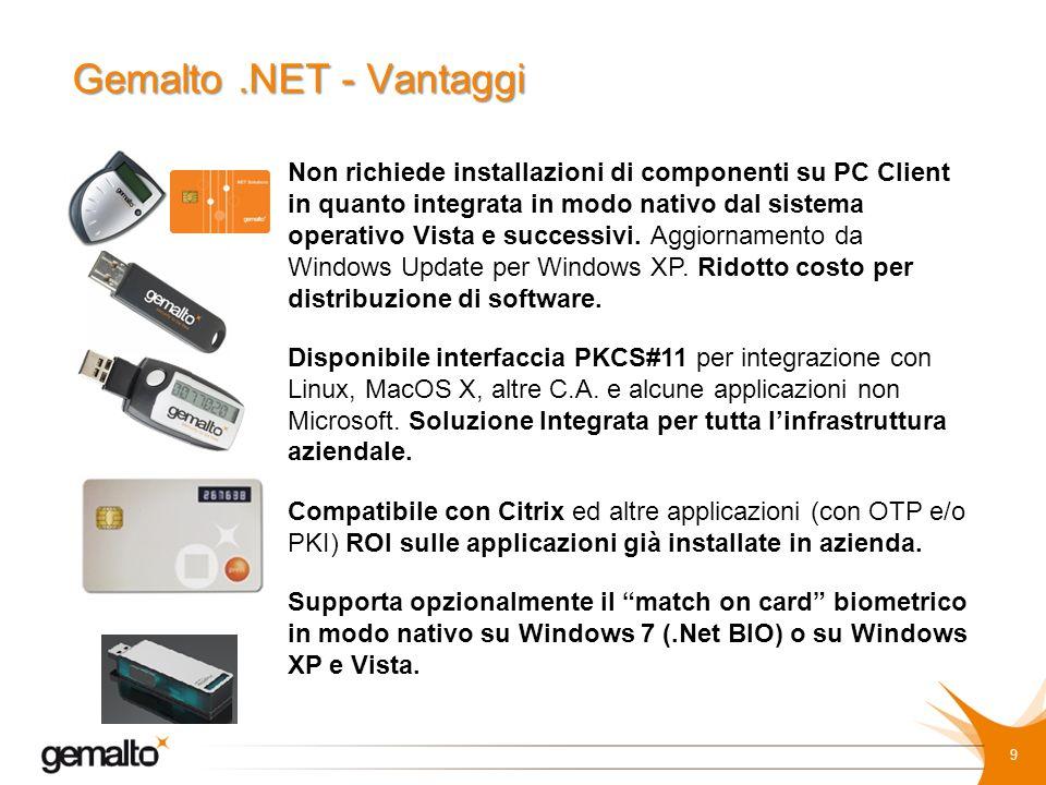 Gemalto .NET - Vantaggi