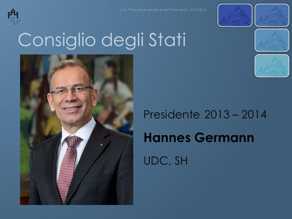 Consiglio degli Stati Hannes Germann Presidente 2013 – 2014 UDC, SH