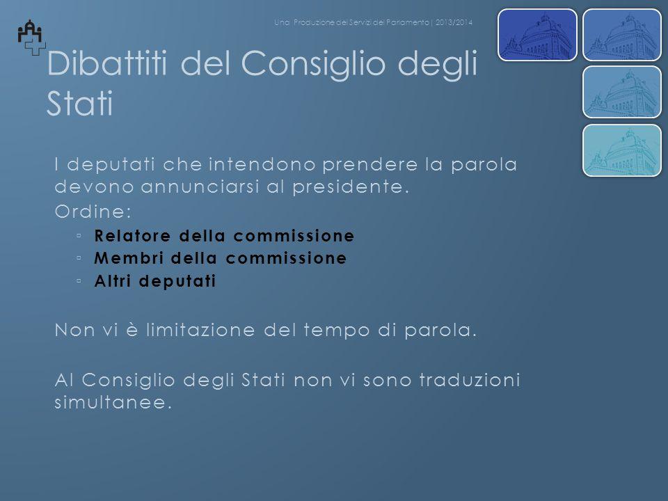 Dibattiti del Consiglio degli Stati