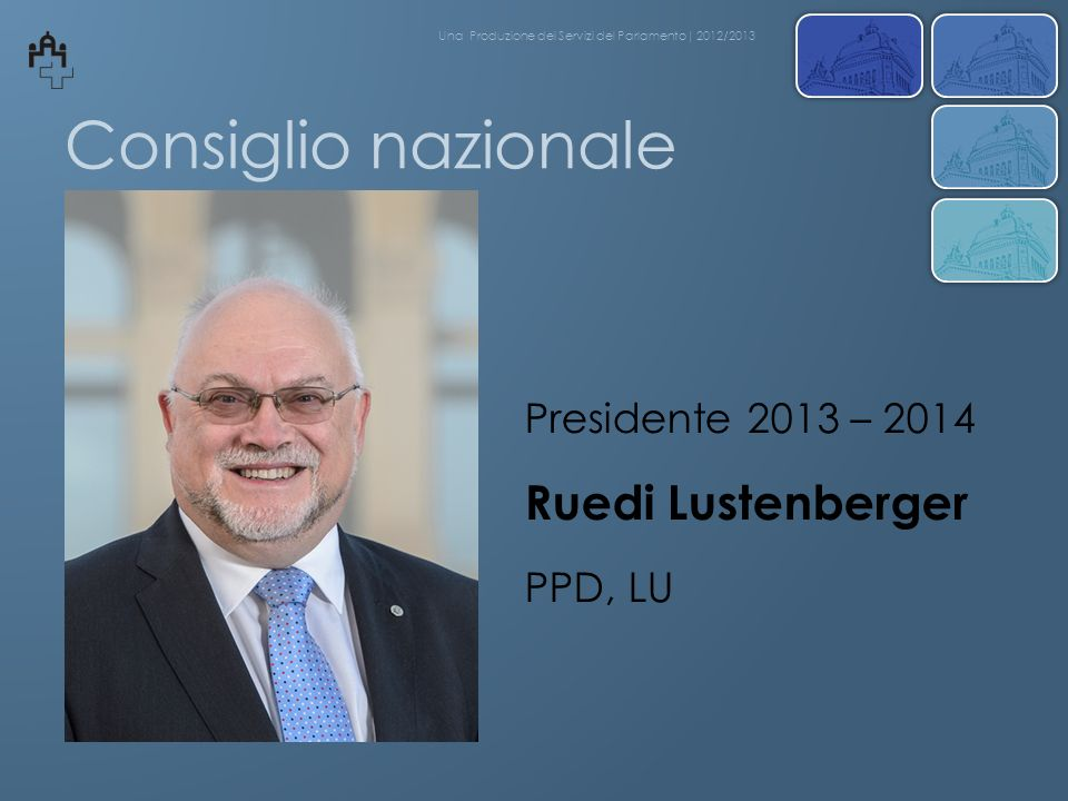Consiglio nazionale Ruedi Lustenberger Presidente 2013 – 2014 PPD, LU