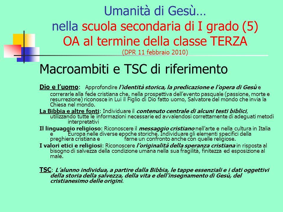 Macroambiti e TSC di riferimento
