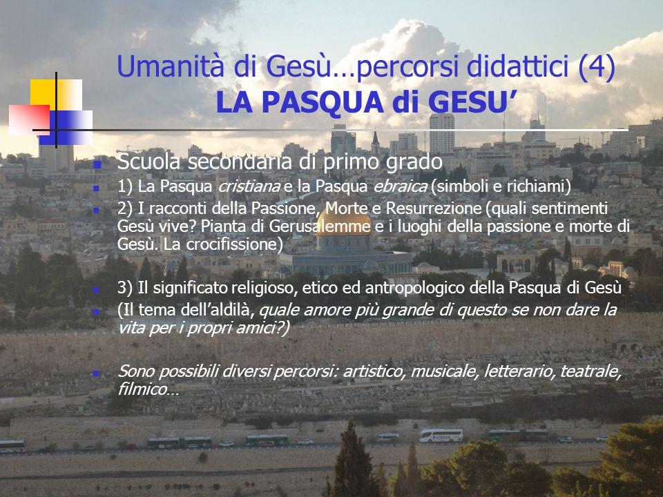 Umanità di Gesù…percorsi didattici (4) LA PASQUA di GESU'