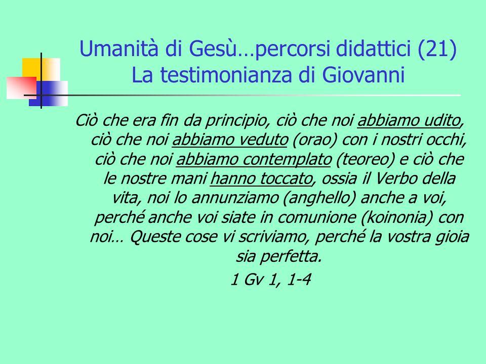 Umanità di Gesù…percorsi didattici (21) La testimonianza di Giovanni