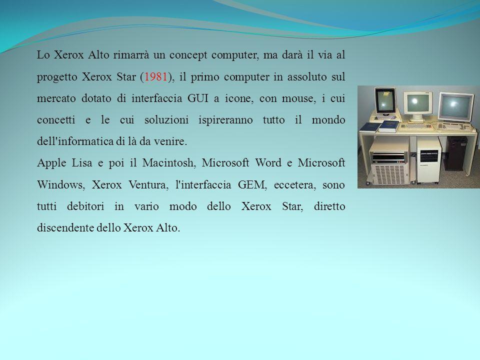 Lo Xerox Alto rimarrà un concept computer, ma darà il via al progetto Xerox Star (1981), il primo computer in assoluto sul mercato dotato di interfaccia GUI a icone, con mouse, i cui concetti e le cui soluzioni ispireranno tutto il mondo dell informatica di là da venire.
