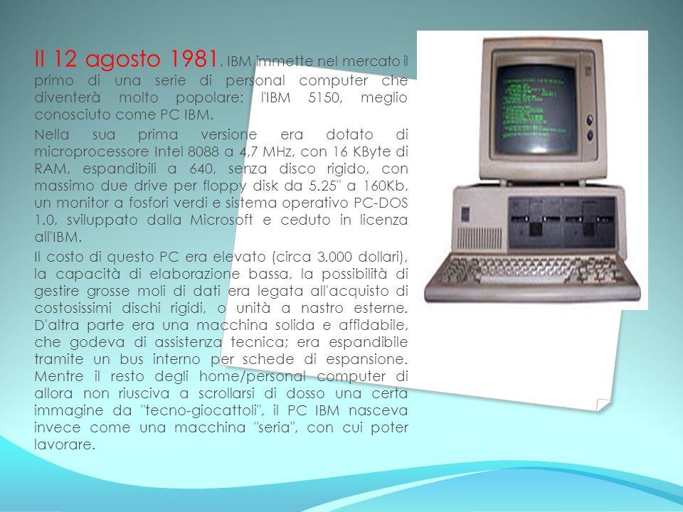 Il 12 agosto 1981, IBM immette nel mercato il primo di una serie di personal computer che diventerà molto popolare: l IBM 5150, meglio conosciuto come PC IBM.