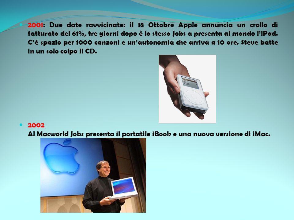 2001: Due date ravvicinate: il 18 Ottobre Apple annuncia un crollo di fatturato del 61%, tre giorni dopo è lo stesso Jobs a presenta al mondo l'iPod. C'è spazio per 1000 canzoni e un'autonomia che arriva a 10 ore. Steve batte in un solo colpo il CD.