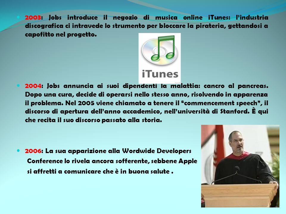 2003: Jobs introduce il negozio di musica online iTunes: l'industria discografica ci intravede lo strumento per bloccare la pirateria, gettandosi a capofitto nel progetto.