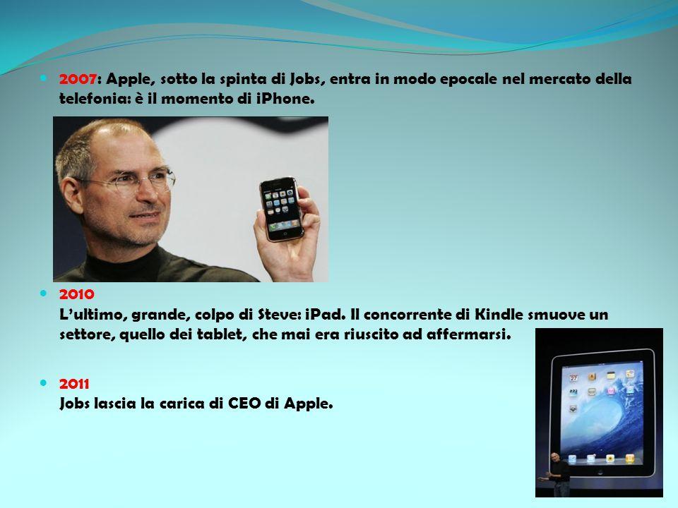2007: Apple, sotto la spinta di Jobs, entra in modo epocale nel mercato della telefonia: è il momento di iPhone.
