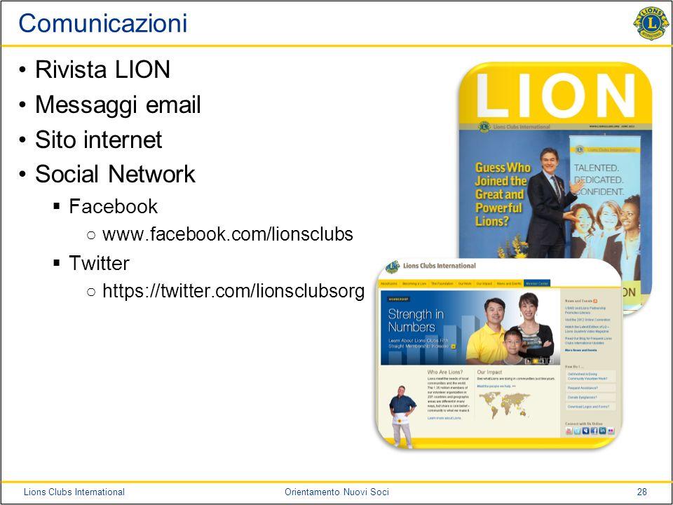 Comunicazioni Rivista LION Messaggi email Sito internet Social Network