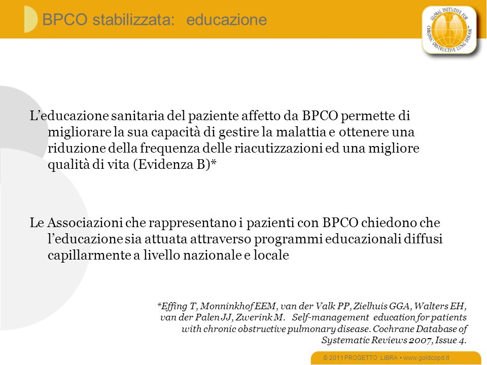 BPCO stabilizzata: educazione