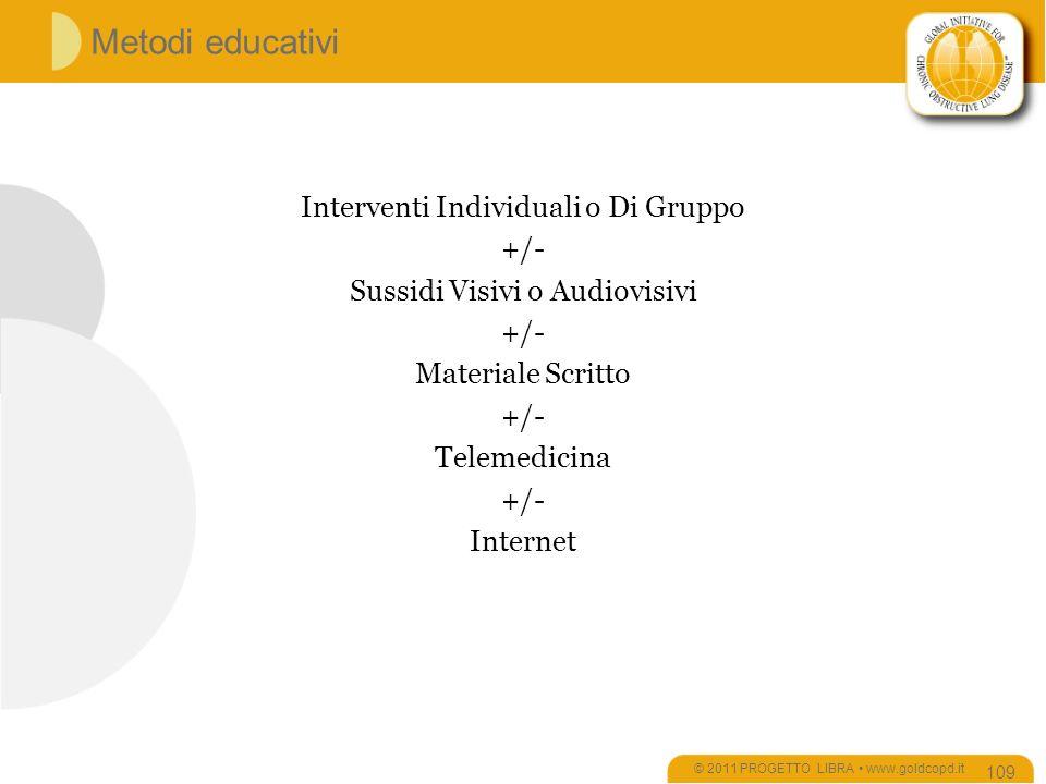 Metodi educativi Interventi Individuali o Di Gruppo +/-