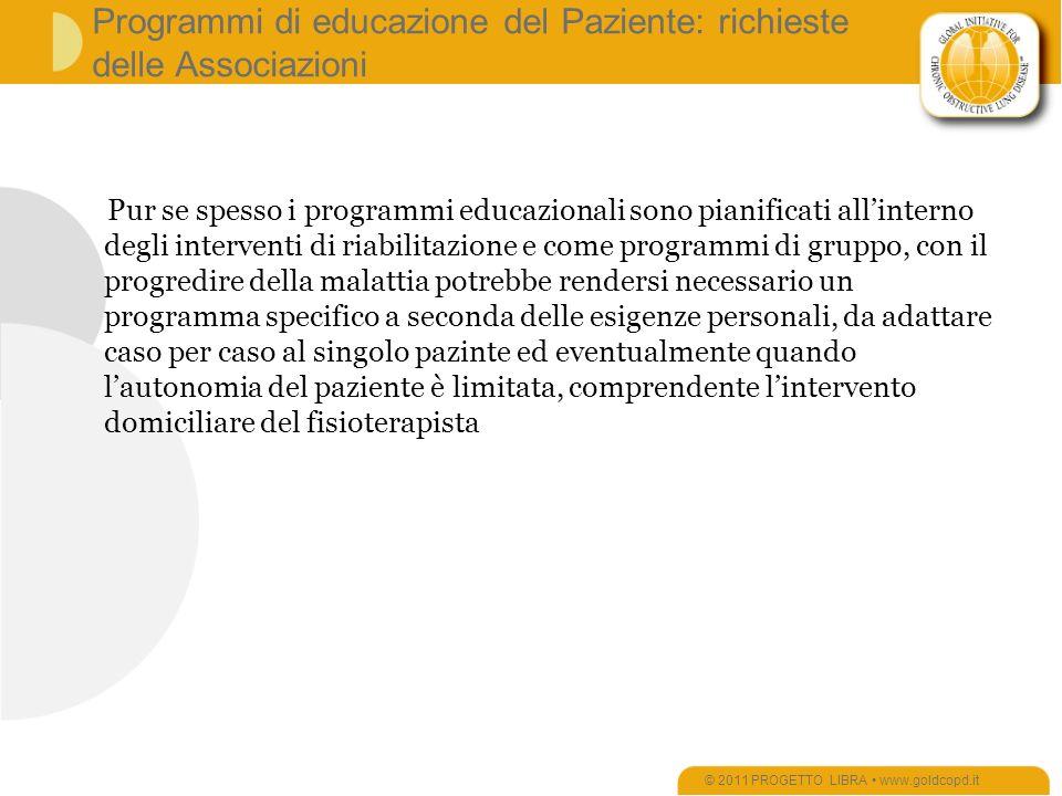 Programmi di educazione del Paziente: richieste delle Associazioni