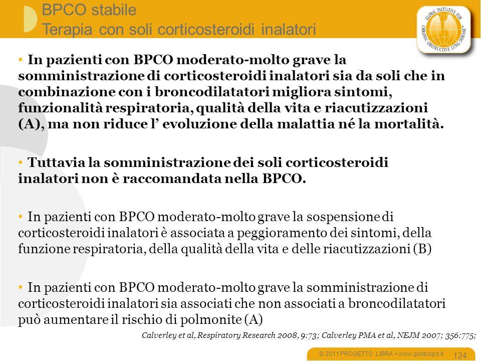 BPCO stabile Terapia con soli corticosteroidi inalatori