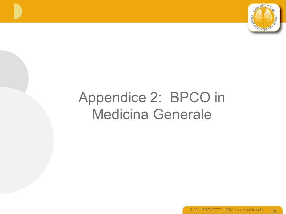 Appendice 2: BPCO in Medicina Generale