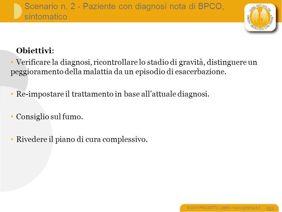Scenario n. 2 - Paziente con diagnosi nota di BPCO, sintomatico