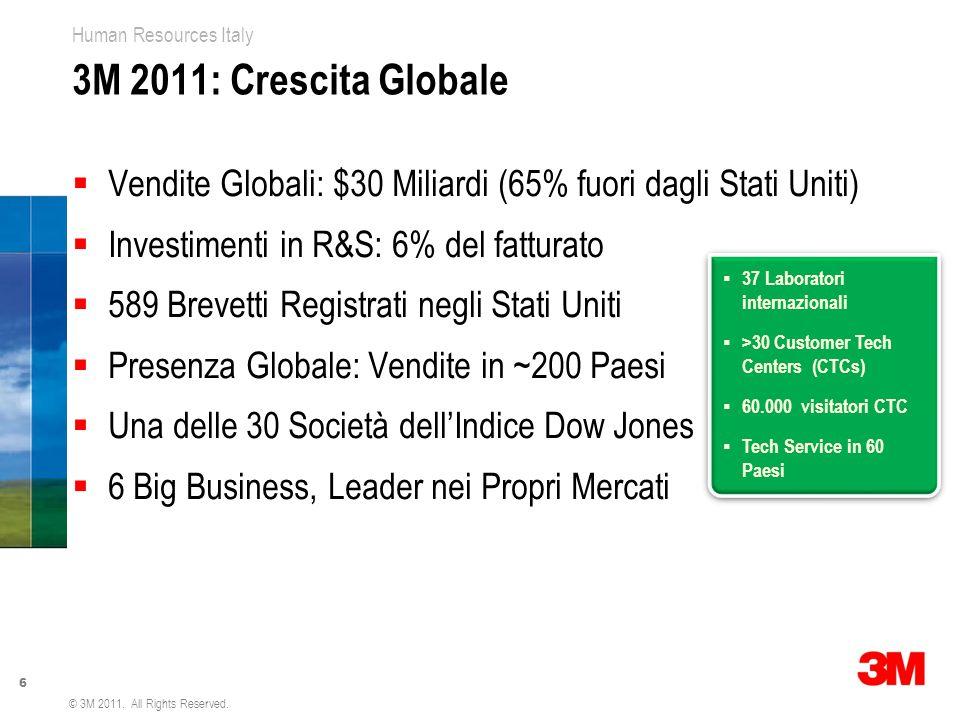 3M 2011: Crescita Globale Vendite Globali: $30 Miliardi (65% fuori dagli Stati Uniti) Investimenti in R&S: 6% del fatturato.