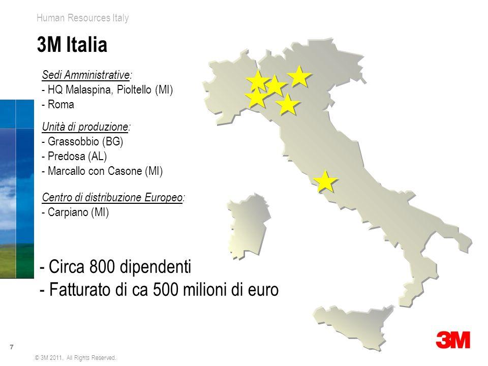 3M Italia Circa 800 dipendenti - Fatturato di ca 500 milioni di euro