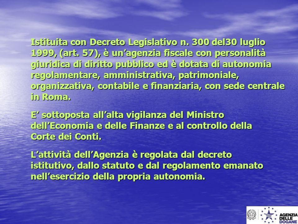Istituita con Decreto Legislativo n. 300 del30 luglio
