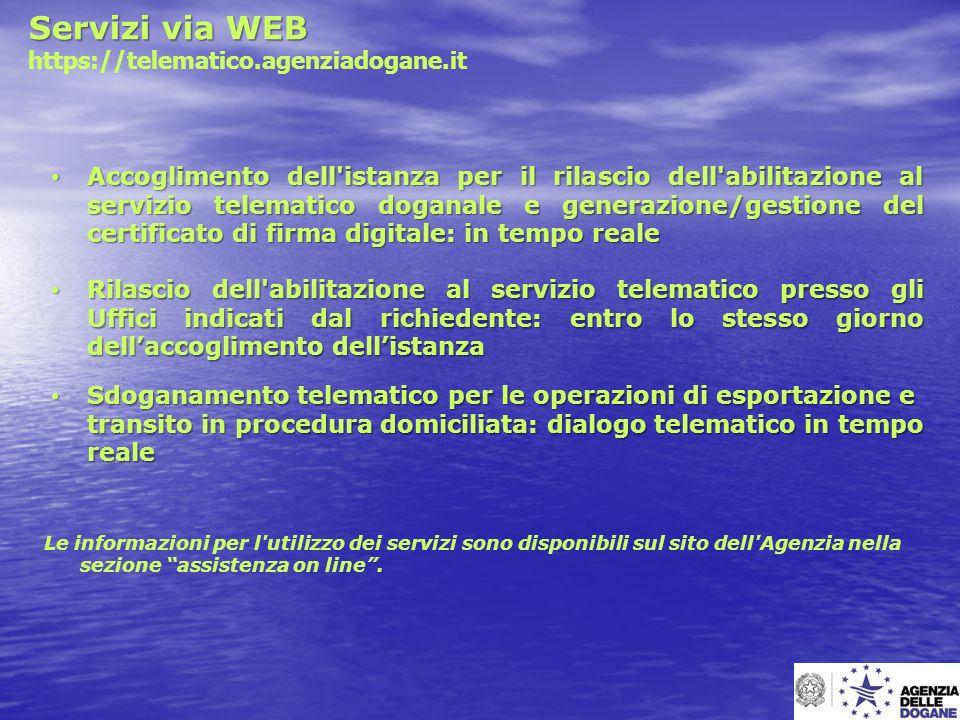 Servizi via WEB https://telematico.agenziadogane.it