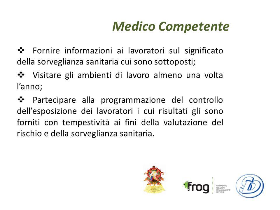 Medico Competente Fornire informazioni ai lavoratori sul significato della sorveglianza sanitaria cui sono sottoposti;