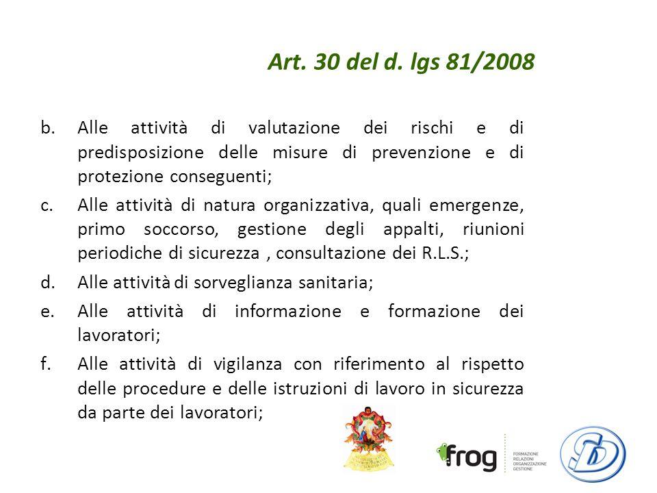 Art. 30 del d. lgs 81/2008 Alle attività di valutazione dei rischi e di predisposizione delle misure di prevenzione e di protezione conseguenti;