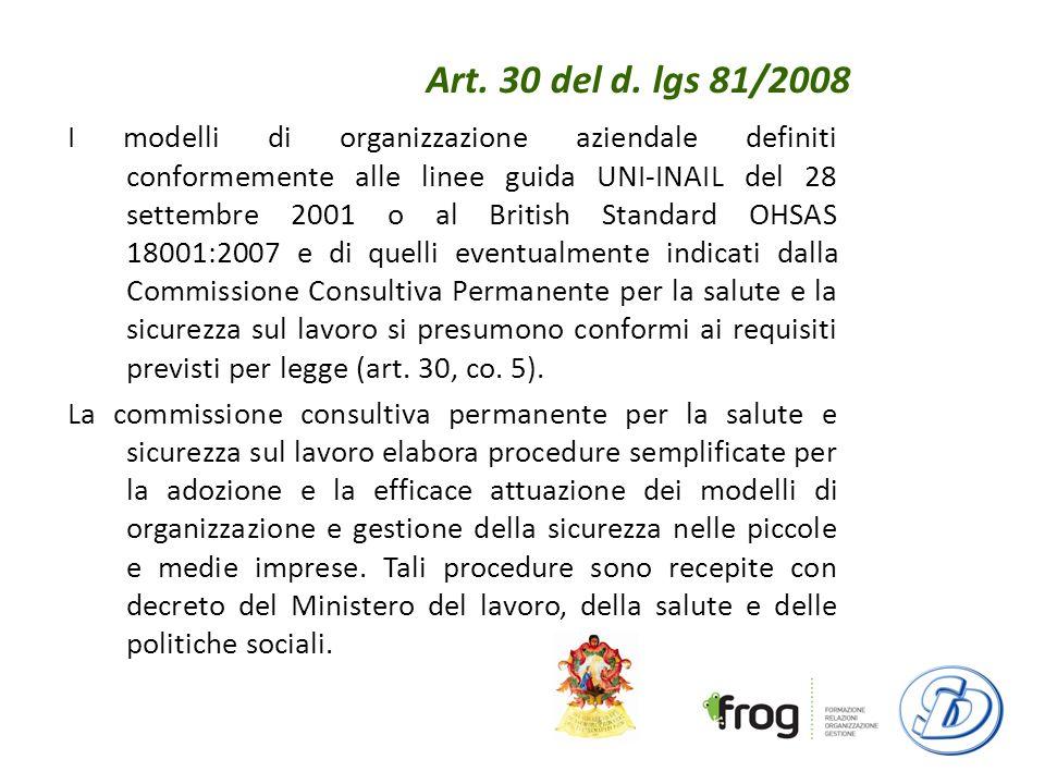Art. 30 del d. lgs 81/2008