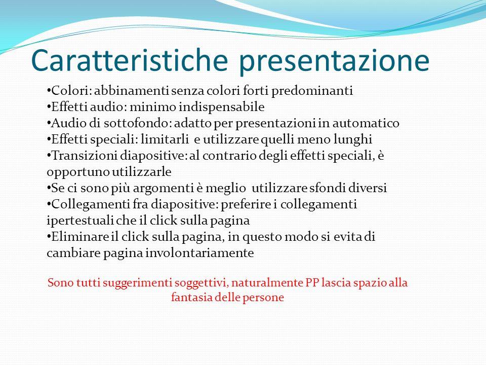 Caratteristiche presentazione