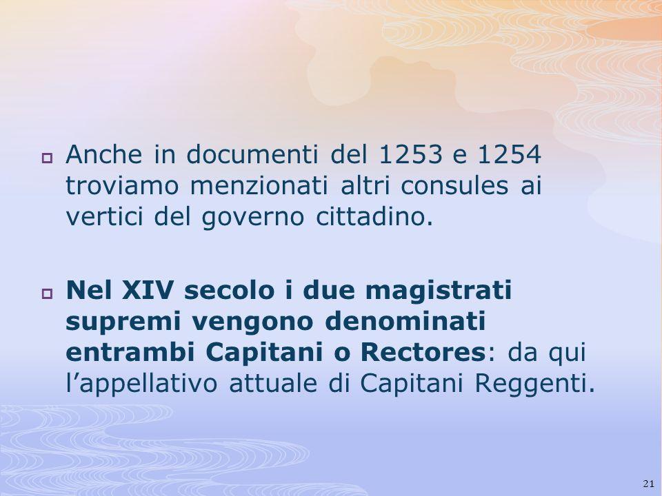 Anche in documenti del 1253 e 1254 troviamo menzionati altri consules ai vertici del governo cittadino.