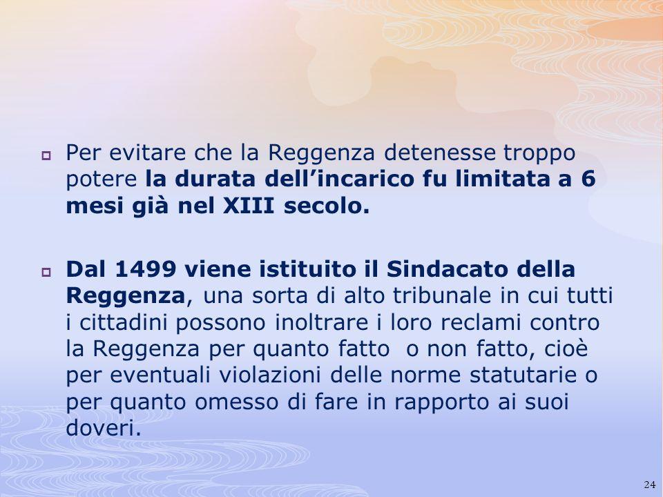 Per evitare che la Reggenza detenesse troppo potere la durata dell'incarico fu limitata a 6 mesi già nel XIII secolo.
