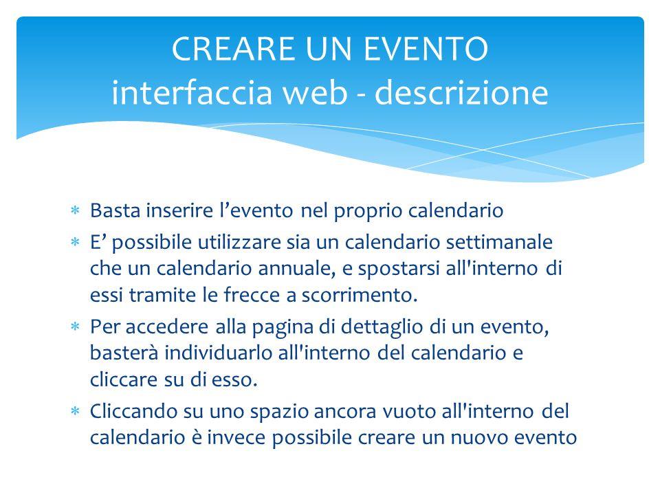 CREARE UN EVENTO interfaccia web - descrizione