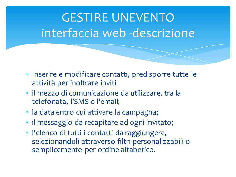 GESTIRE UNEVENTO interfaccia web -descrizione