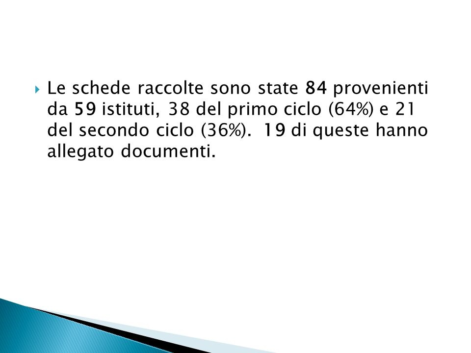 Le schede raccolte sono state 84 provenienti da 59 istituti, 38 del primo ciclo (64%) e 21 del secondo ciclo (36%).