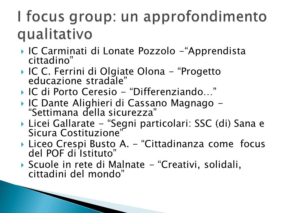 I focus group: un approfondimento qualitativo